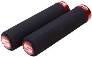 SRAM Locking gripy pěnové 129mm černé s červenou objímkou a s koncovkami řidítek
