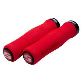 SRAM Locking gripy tvarované pěnové 129mm červené s černou objímkou a s koncovkami řidítek