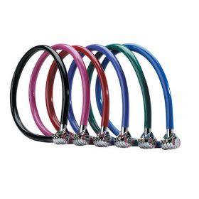 MasterLock Ocelový kabelový zámek 55cm x  6mm neměnná 3 číselná kombinace, vinylový potah – fialový