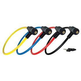 MasterLock SET ocelový kabelový zámek 65cm x  8mm 2 klíče, vinylový potah – žlutý+ červený + 2 černé