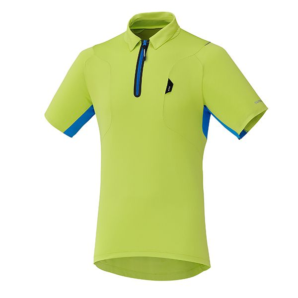 SHIMANO dres polo, electric zelená, XXL