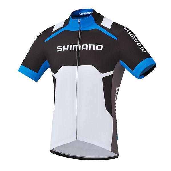 SHIMANO dres s potiskem, bílá/cobalt modrá, XXL