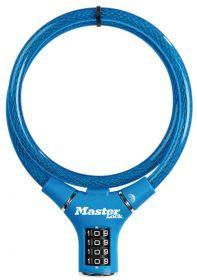 MasterLock kabelový zámek 90cm x  12mm, kód, nylonový potah – modrý