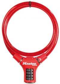 MasterLock kabelový zámek 90cm x  12mm, kód, nylonový potah – červený