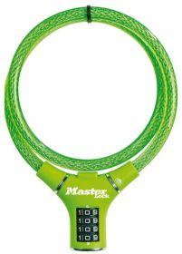 MasterLock kabelový zámek 90cm x  12mm, kód, nylonový potah – zelený