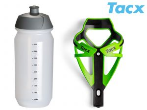 TACX Košík TACX Deva + Láhev Shiva 0,5l  (zelená/karbon)