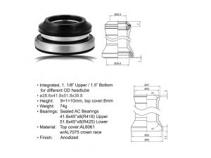 AUTHOR Hlavové složení ACO-HS40 Integrated (28.6/ 41.8/ 51.8/ 39.8mm) (černá)