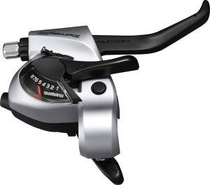 SHIMANO řad/brzd. páka TOURNEY ST-TX800 MTB/trek pro V-brzdy levá 3 rychl 2 prstá stříbrná