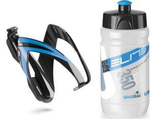 ELITE KIT CEO košík lesklý černý/modrý ø 66 mm + láhev CORSETTA čirá/modrá